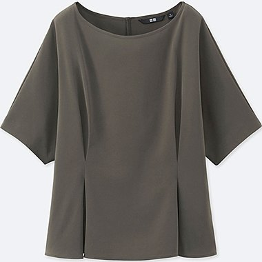 WOMEN DRAPE TUCK SHORT SLEEVE T BLOUSE