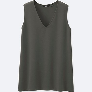 WOMEN DRAPE V NECK SLEEVELESS BLOUSE
