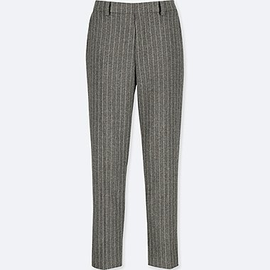WOMEN TWEED ANKLE-LENGTH PANTS, GRAY, medium