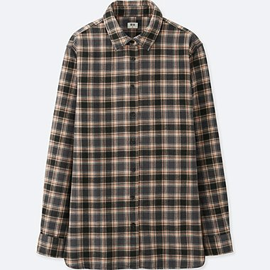 WOMEN FLANNEL CHECKED LONG-SLEEVE SHIRT, GRAY, medium