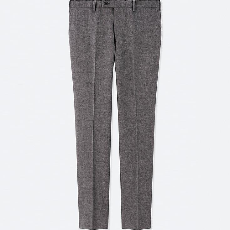 MEN STRETCH WOOL SLIM-FIT FLAT-FRONT PANTS, GRAY, large