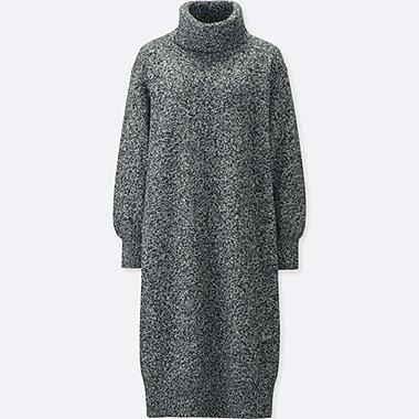 WOMEN LAMBSWOOL TURTLENECK LONG SLEEVED DRESS