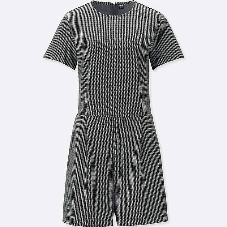 WOMEN JACQUARD SHORT-SLEEVE ROMPER (ONLINE EXCLUSIVE), GRAY, large