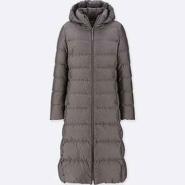 WOMEN ULTRA LIGHT DOWN LONG HOODED COAT