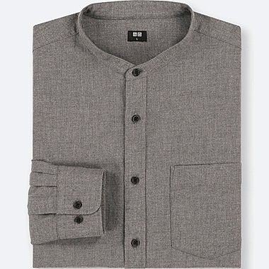 MEN FLANNEL STAND COLLAR LONG-SLEEVE SHIRT (ONLINE EXCLUSIVE), GRAY, medium