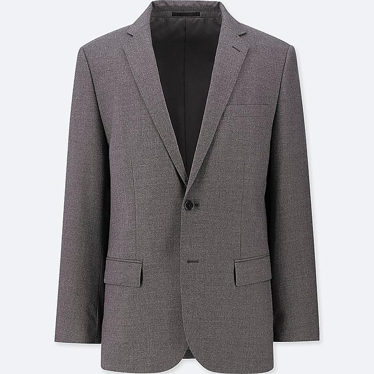 MEN STRETCH WOOL SLIM-FIT JACKET, GRAY, large
