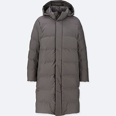 MEN SEAMLESS DOWN HOODED LONG COAT