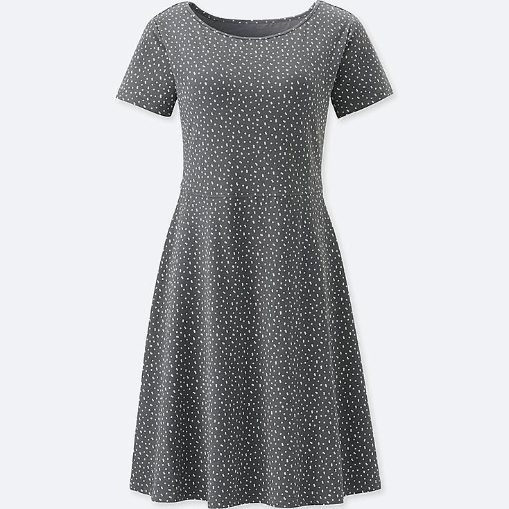 WOMEN SHORT-SLEEVE PRINTED BRA DRESS (ONLINE EXCLUSIVE), GRAY, large