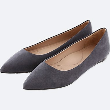 WOMEN POINTED FAUX SUEDE FLAT SHOES, GRAY, medium