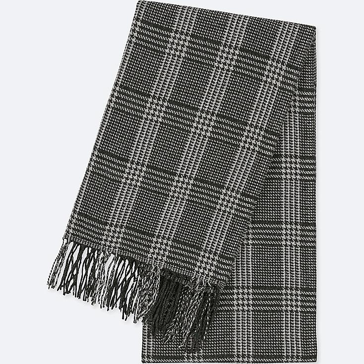 HEATTECH PATTERNED SCARF, GRAY, large