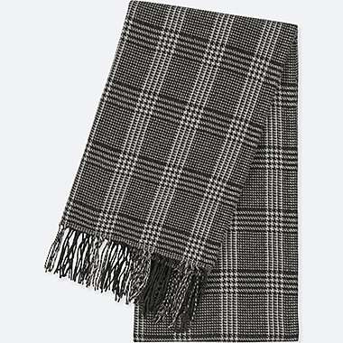 HEATTECH PATTERNED SCARF, GRAY, medium