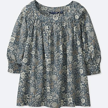 WOMEN SOFT COTTON GATHERED PRINTED 3/4 SLEEVE BLOUSE