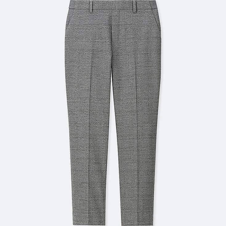 WOMEN EZY FLANNEL ANKLE-LENGTH PANTS (GLEN CHECK), GRAY, large
