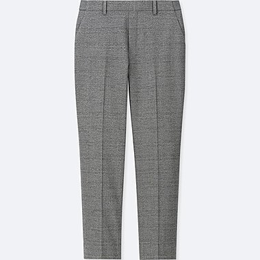 WOMEN EZY ANKLE-LENGTH PANTS (FLANNEL), GRAY, medium