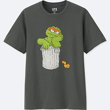 MEN KAWS X SESAME STREET GRAPHIC T-SHIRT, GRAY, medium