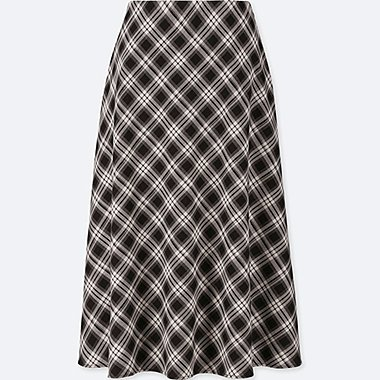 WOMEN CHECK FLARED SKIRT (HIGH WAISTED)
