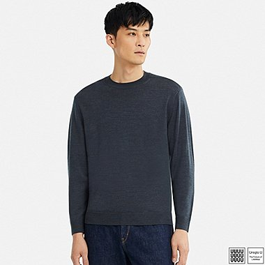 MEN U EXTRA FINE MERINO CREWNECK LONG-SLEEVE SWEATER, GRAY, medium