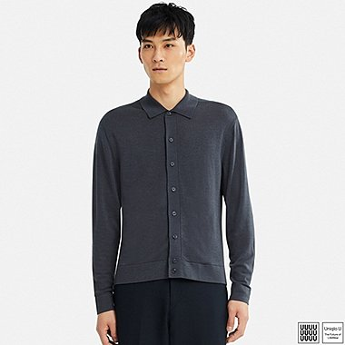 MEN UNIQLO U EXTRA FINE MERINO POLO CARDIGAN