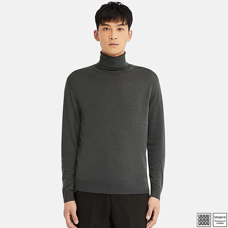 MEN U EXTRA FINE MERINO TURTLENECK LONG-SLEEVE SWEATER, GRAY, large