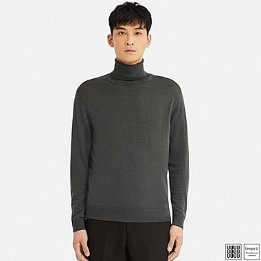MEN U EXTRA FINE MERINO TURTLENECK LONG-SLEEVE SWEATER, GRAY, medium