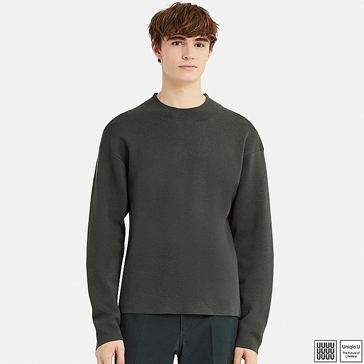 MEN U MILANO RIBBED MOCK NECK LONG-SLEEVE SWEATER, GRAY, large