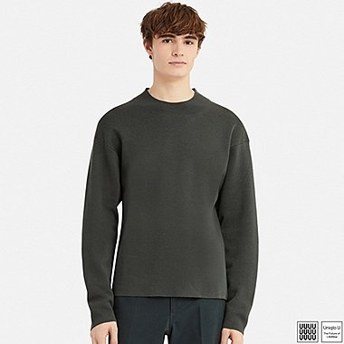 MEN U MILANO RIBBED MOCK NECK LONG-SLEEVE SWEATER, GRAY, medium
