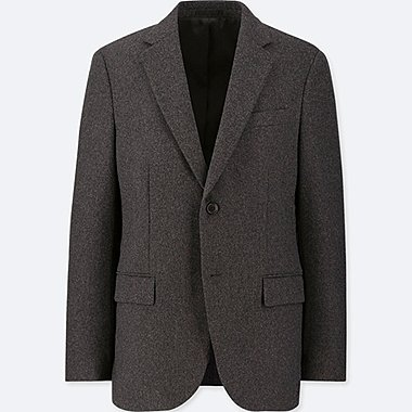 MEN WOOL FLANNEL SLIM FIT BLAZER JACKET