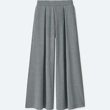 WOMEN JERSEY FLARE PANTS, GRAY, medium