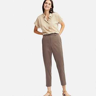 WOMEN EZY SATIN ANKLE PANTS, GRAY, medium