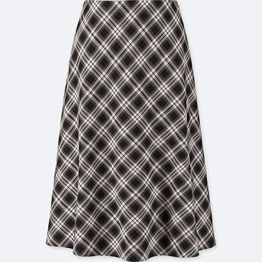 WOMEN CHECKED FLARED HIGH-WAISTED SKIRT (ONLINE EXCLUSIVE), GRAY, medium