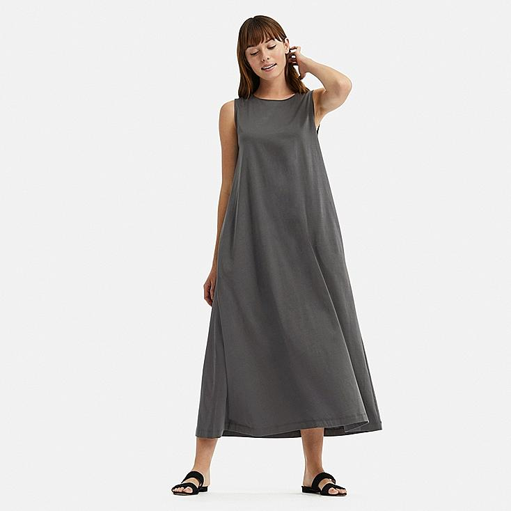 WOMEN MERCERIZED COTTON A-LINE SLEEVELESS LONG DRESS, GRAY, large