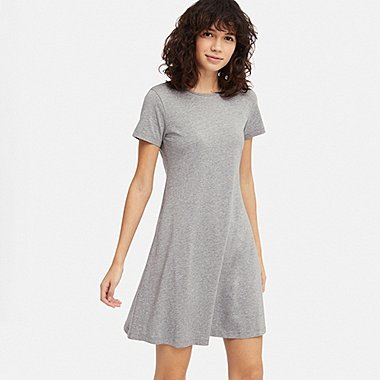 WOMEN A-LINE SHORT-SLEEVE MINI BRA DRESS, GRAY, medium