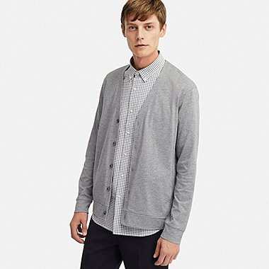 MEN AIRism UV CUT CARDIGAN, GRAY, medium