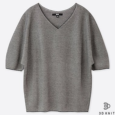 WOMEN 3D COTTON DOLMAN HALF SLEEVE SWEATER, GRAY, medium