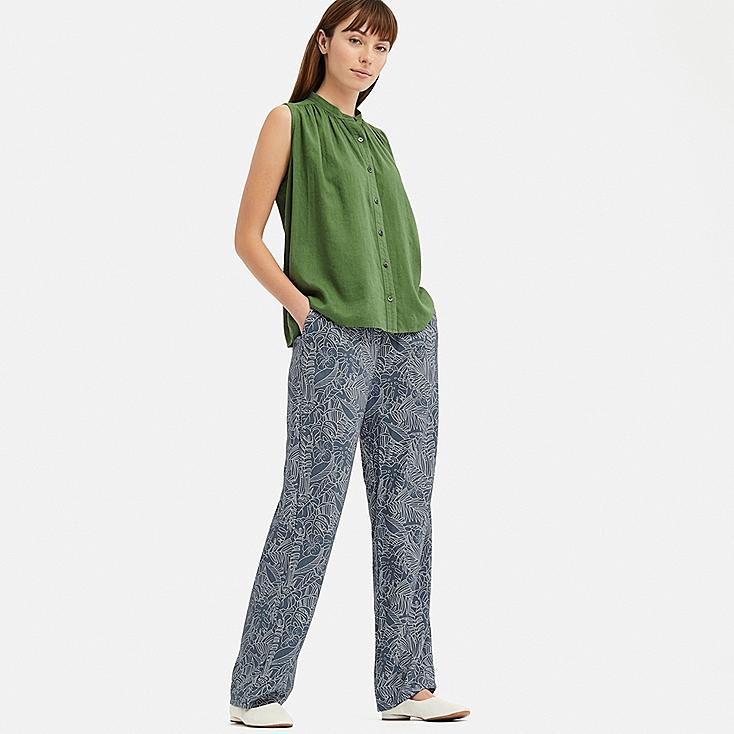 WOMEN DRAPE STRAIGHT PANTS, GRAY, large
