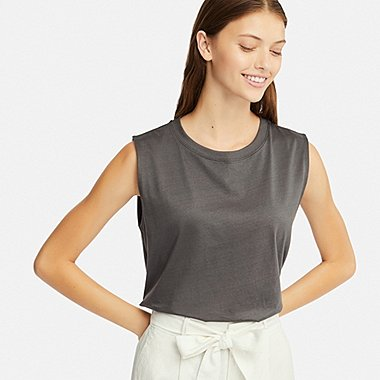 WOMEN MERCERIZED COTTON SLEEVELESS T-SHIRT, GRAY, medium