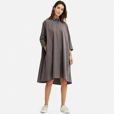WOMEN EXTRA FINE COTTON A-LINE 3/4 SLEEVE DRESS, GRAY, medium