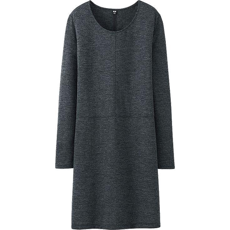 W's drape dress, DARK GRAY, large
