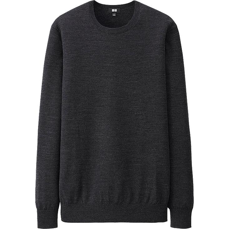 MEN EXTRA FINE MERINO CREW NECK SWEATER, DARK GRAY, large