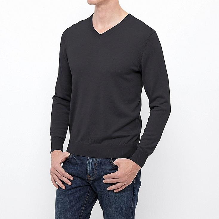 MEN EXTRA FINE MERINO V NECK SWEATER, DARK GRAY, large