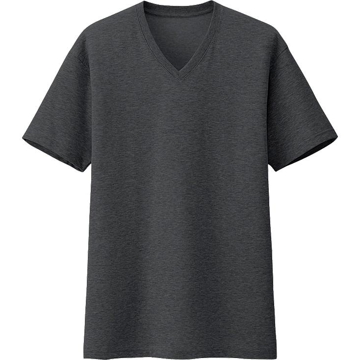 MEN PACKAGED DRY V NECK SHORT SLEEVE T SHIRT, DARK GRAY, large