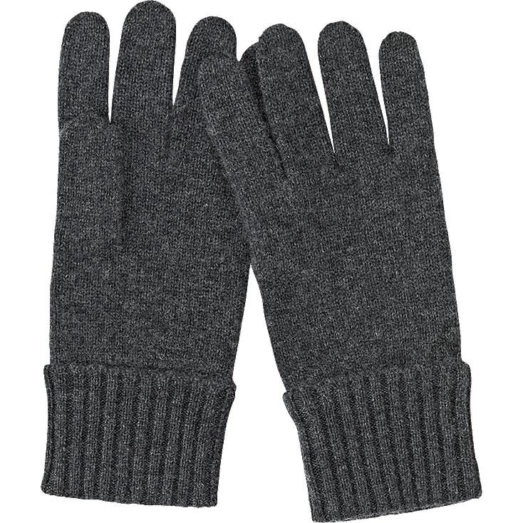 CASHMERE KNIT GLOVES, DARK GRAY, large