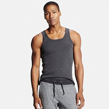 Mens DRY Colored Rib Tank Top, DARK GRAY, medium