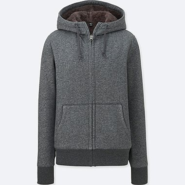 WOMEN FLEECE-LINED FULL-ZIP HOODIE, DARK GRAY, medium