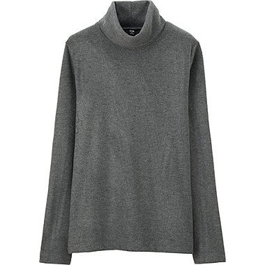 WOMEN HEATTECH FLEECE TURTLE NECK LONG SLEEVE T, DARK GRAY, medium