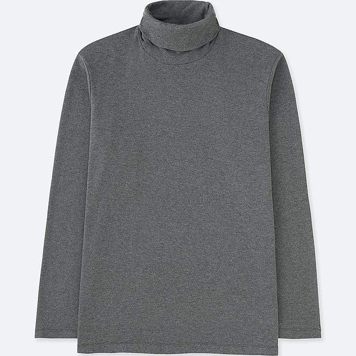 MEN SOFT TOUCH TURTLENECK LONG SLEEVE T-SHIRT, DARK GRAY, large