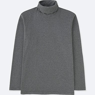 MEN SOFT TOUCH TURTLENECK LONG SLEEVE T-SHIRT, DARK GRAY, medium