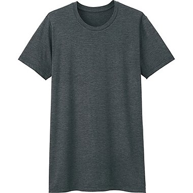 MEN HEATTECH CREWNECK T-SHIRT (SHORT SLEEVE), DARK GRAY, medium