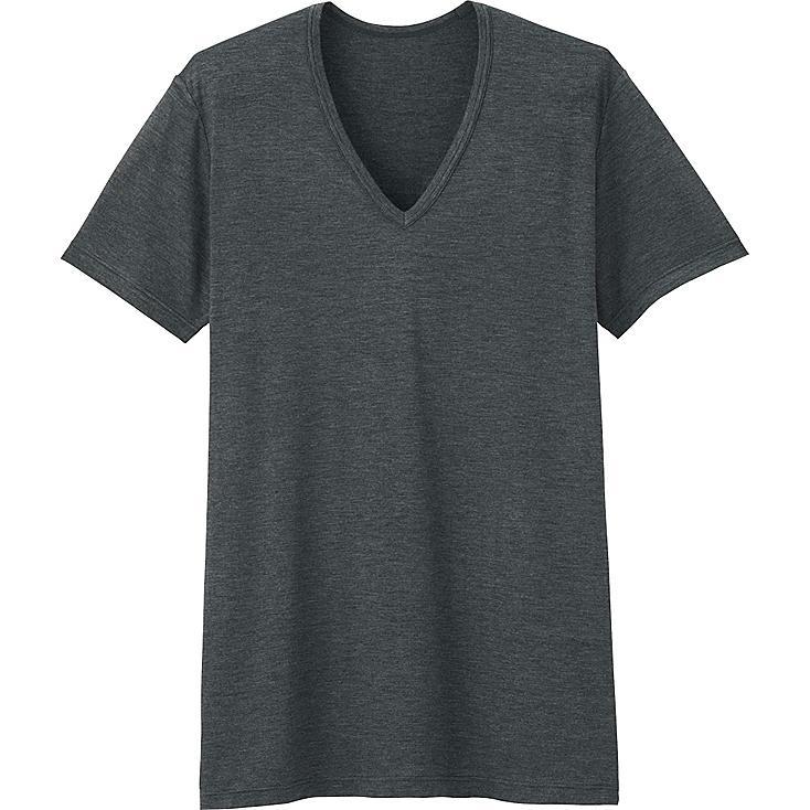 Men HEATTECH V-Neck T-Shirt, DARK GRAY, large