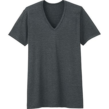 Men HEATTECH V-Neck T-Shirt, DARK GRAY, medium